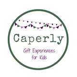 Caperly logo; dark green circle with purple and green bunting at the top. Caperly in green writing in the middle with 'gift experiences for kids' in smaller purple writing below