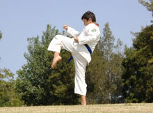 Load image into Gallery viewer, Boy with white uniform with blue belt experiencing Martial arts lesson