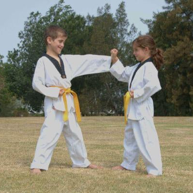 Two children in their white uniform with yellow belts learning martial arts