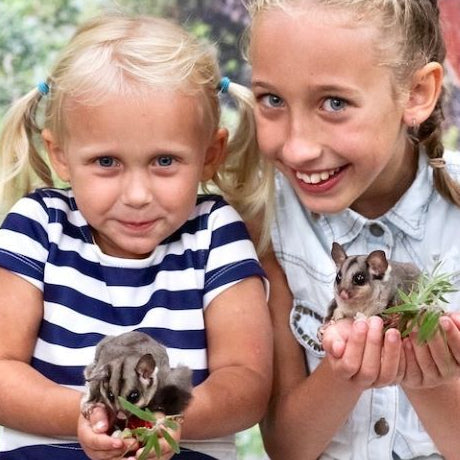2 girls smiling & holding possums experiencing Featherdale Wildlife park