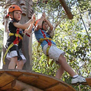 Two children harnessed with orange helmets enjoying the ropes activity