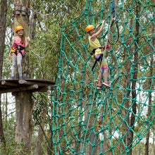 Load image into Gallery viewer, Two girls experiencing the rope spiderweb, one climbing, one watching