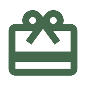 Green icon of a gift card with a white background for Caperly