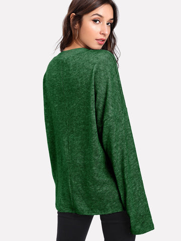 Forest Green Lacey V-Neck Sweater