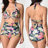 Halter, High Waist Beach Rose