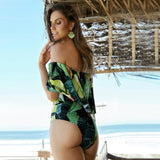 Exotic Greens Print One Piece with Off Shoulder Fringe