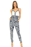 Women's Printed V-Neck Jumpsuit with Lace Detail