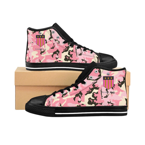 Girlish Pink Camo High-top Sneakers