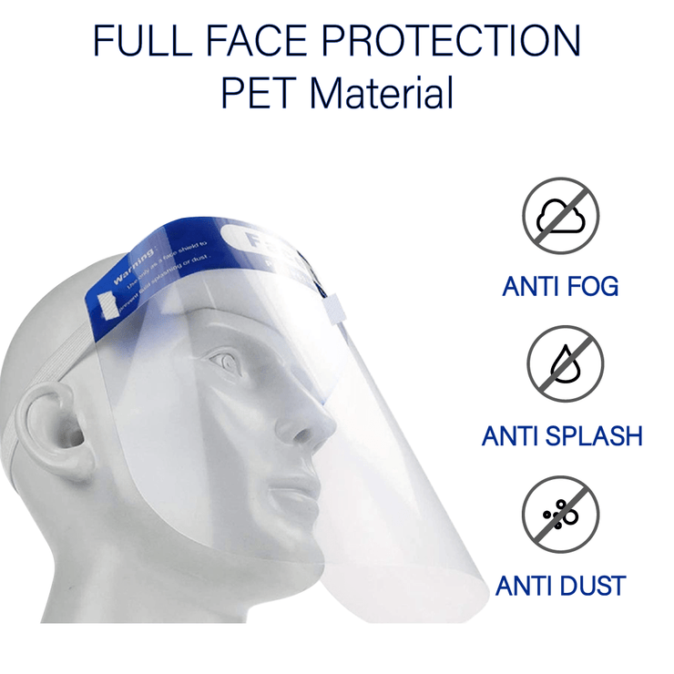 10-Pack Face Shield, Light Weight, Comfortable Fit, Full Face Protection