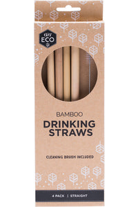 SET OF 4 BAMBOO STRAWS WITH CLEANING BRUSH