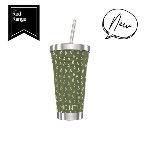 STAINLESS STEEL SMOOTHIE CUP OLIVE GEO