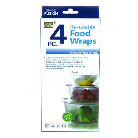 SET OF 4 REUSABLE SILICONE WRAPS