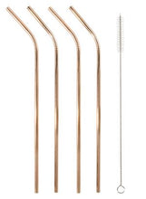 Load image into Gallery viewer, STAINLESS STEEL STRAWS SET OF 4 - GOLD
