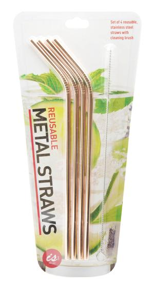 SET OF 4 STAINLESS STEEL STRAWS GOLD