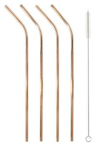 STAINLESS STEEL STRAWS SET OF 4 - ROSE GOLD