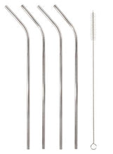 Load image into Gallery viewer, STAINLESS STRAWS SET OF 4 - SILVER