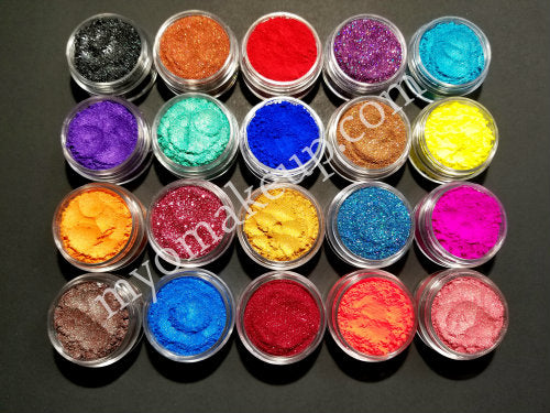 10 Piece Myo Loose Eyeshadow Pigment Duochrome, Color shifting, Shimmer, Matte, Ultra Bright's, Mixed Glam Sampler Collection Set G