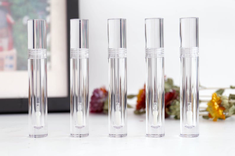 8ML All Clear Lip Gloss Tubes Texture Empty Bottle Cylinder Transparent Lip Tube Makeup Tools Empty Gloss Container