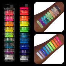 Load image into Gallery viewer, 20 MYO Ultra Bright & Rainbow Glitter Stackable Jar Duo Set Mica Cosmetic Mineral Makeup.
