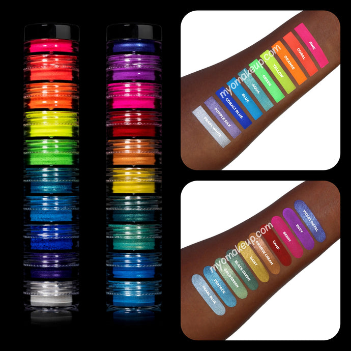 20 MYO Ultra Bright Rainbow Eyeshadow Pigment Stackable Jar Duo Set Mica Cosmetic Mineral Makeup.