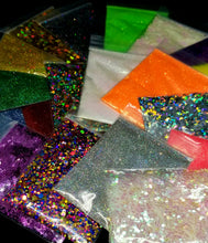 Load image into Gallery viewer, 10 Assorted Colors Shaped, Chunky And Fine Glitter Cosmetic Grade For Epoxy, Tumbler, Makeup, Cosmetic, Nail Art, Resin Jewelry