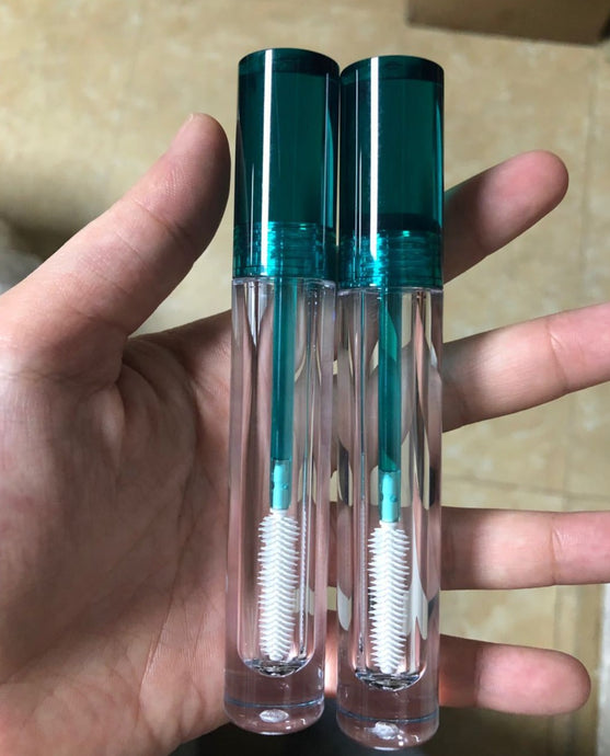 7ML Empty Mascara Tubes Teal/Clear With Wand Applicator Transparent Mascara
