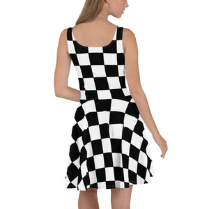 Black and white checkered Fit and Flare Skater Dress