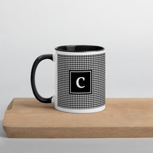 Initial Houndstooth Mug with Solid Black Inside