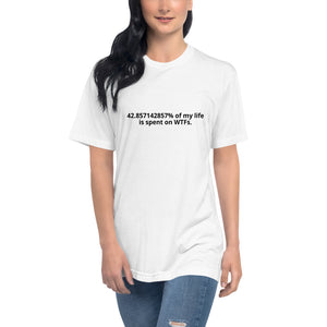"""42.857142857% of my life is spent on wtf"" Unisex T-shirt"