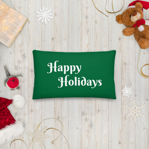 Green Happy Holidays Premium Pillow