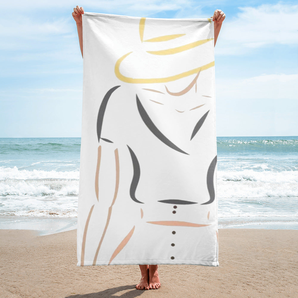 Fashion Illustration Beach Towel