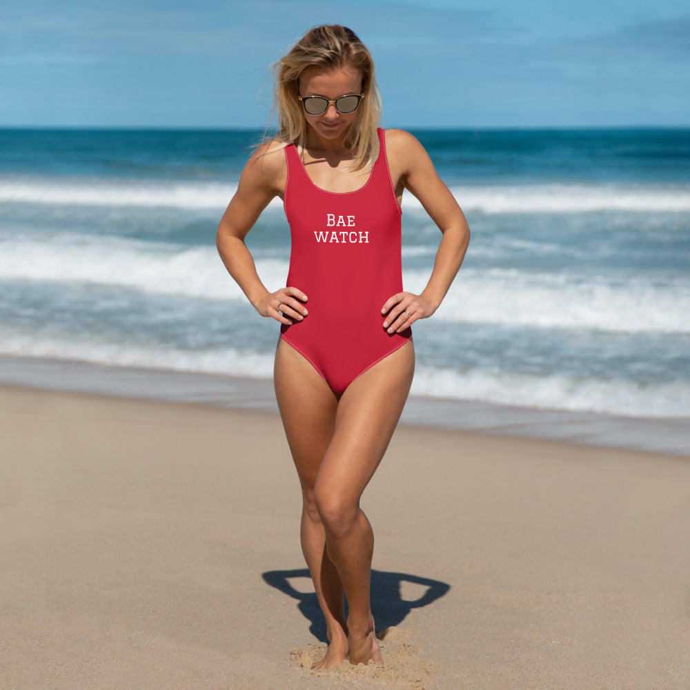 Red 'Bae' Watch One-Piece Swimsuit