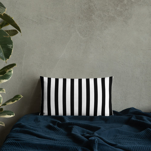 Black & White Striped Halloween Pillow