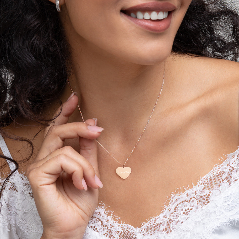 "Customizable ""I love you"" Engraved Heart Pendent Necklace"