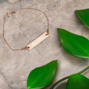 """Beautiful"" Engraved Self-Affirmation Bar & Chain Bracelet"
