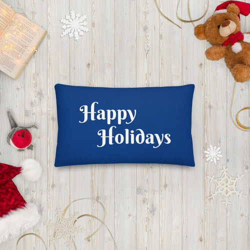 Blue Happy Holidays Premium Pillow