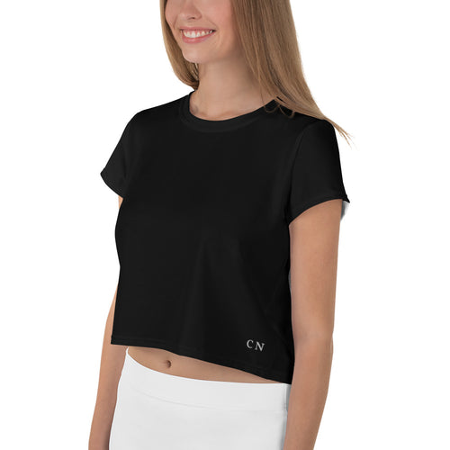 "Black Crop Top with white ""CN"" Logo in lower left corner"