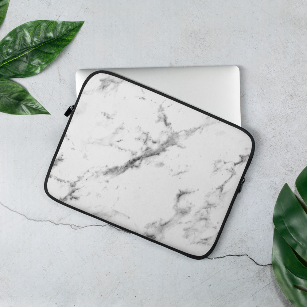 White Marble Laptop Sleeve