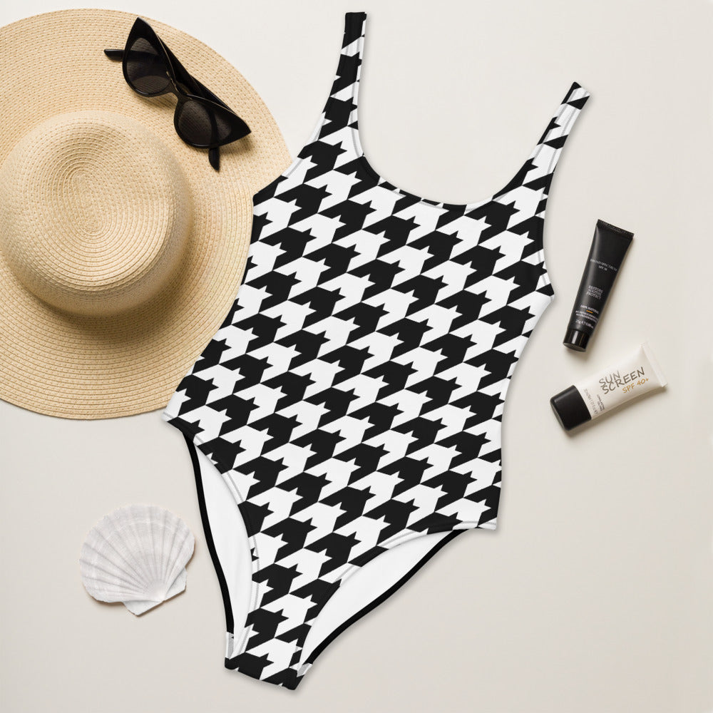 Classic Houndstooth One-Piece Swimsuit with Solid Black Back