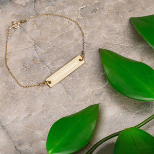 """Extraordinary"" Engraved Self-Affirmation Bar & Chain Bracelet"