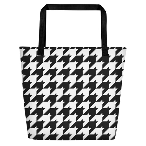 Classic Houndstooth Beach Bag