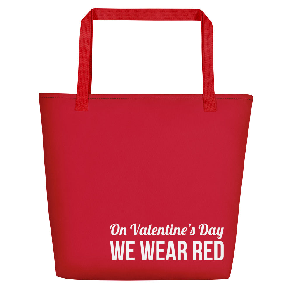 On Valentine's Day we wear red Tote Bag