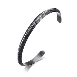 Men's Twisted & Carved Stainless Steel Cuff