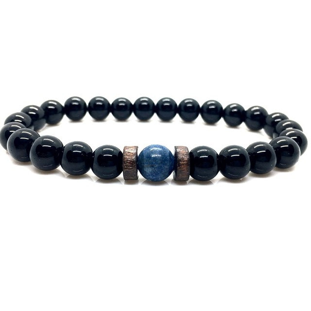 Men's Natural Moonstone and Tibetan Lava Stone Bracelet