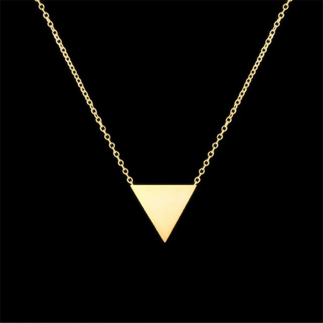 Unisex Stainless Steel Triangle Pendant Necklace