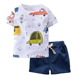 2pcs T-shirt & Shorts Vehicles Summer Clothing