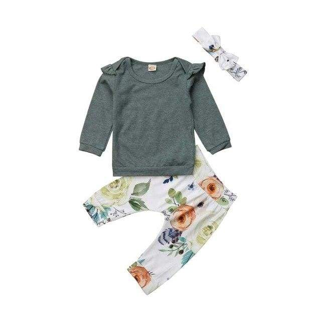 3pcs Green Floral Baby Girl Clothing Set - Green / 6M - clothing set