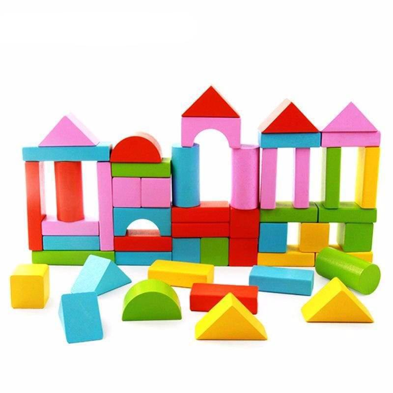 50Pcs Building Blocks Wooden Toys - building toys