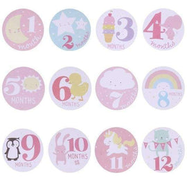 Blue Baby Month Milestones Photograph Sticker - Pink