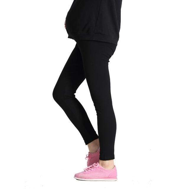 Comfortable Black Pregnant Leggings - Black / L - maternity bottoms